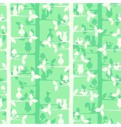 Seamless pattern with trees and forest birds and vector image vector image