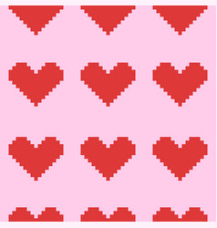 Seamless pink pattern with red pixel hearts vector