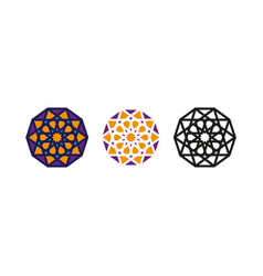 Set arabic decorative pattern islamic symbol logo vector
