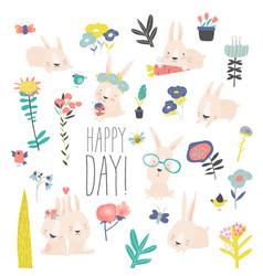 Set cute cartoon bunnies and color flowers vector