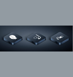 Set isometric diving hood flashlight and mask vector