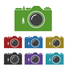 Set of color common slr camera icons signs vector