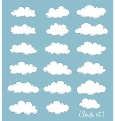 set of cute cartoon white clouds vector image