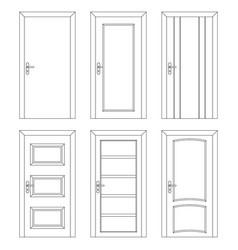 set of interior doors outline design vector image