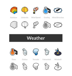 Set of isometric icons in otline style colored vector