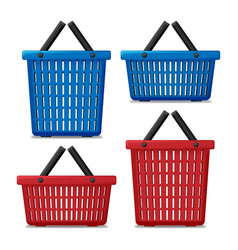 Set of red and blue empty laundry basket isolated vector