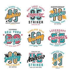 Set of sport emblems surfing racing rugby vector