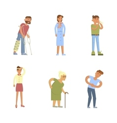 Sick people characters vector image