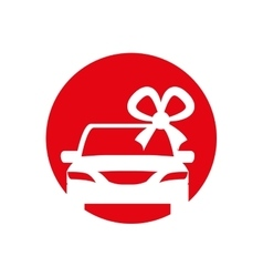 Silhouette car gift with bow iicon red circle vector