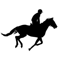 silhouette of horse and jockey vector image