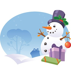 Snowman with gifts vector
