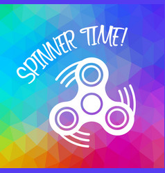 spinner time with finger spinner silhouette over vector image
