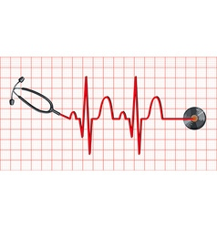 Stethoscope and heartbeats on graph paper vector