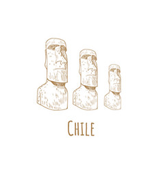 Stone statues of moai statue idol chile vector