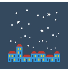 Street of houses under stars vector