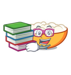 Student with book cottage cheese mascot cartoon vector
