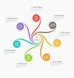 swirl style infographic template with 7 options vector image