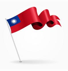 Taiwan pin wavy flag vector