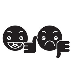 thumbs up down emoji black concept icon vector image