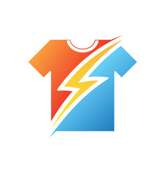 Thunder on t-shirt in flat style on white vector