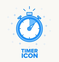 Timer icon thin blue line design vector