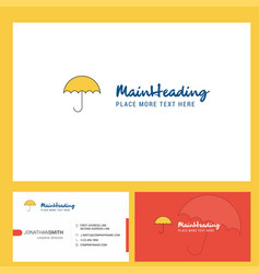 umbrella logo design with tagline front and back vector image