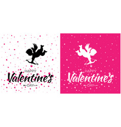 valentines day card set cupid heart background vector image