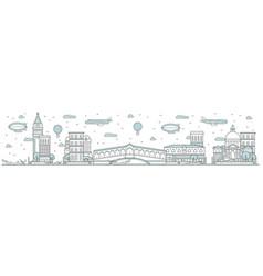 venice skyline line cityscape vector image