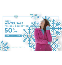 winter social media post design template vector image