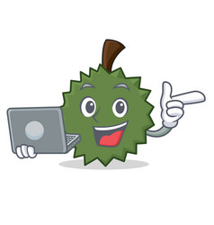with laptop durian character cartoon style vector image