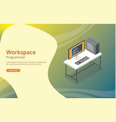 Workspace programmer or developer with coding on vector