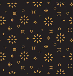 Xmas background pattern gold snowflake icons on vector