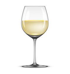realistic wineglass with white wine icon vector image