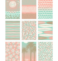 Set of summer vacation poster backgrounds vector image vector image