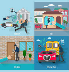 Stealing Icons Set vector image vector image
