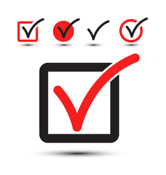 tick symbol checkbox icon set isolated on white vector image