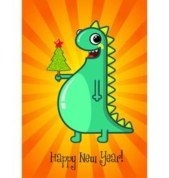 Dragon and Christmas tree vector image vector image