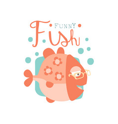 funny fish logo baby shop label fashion print vector image vector image