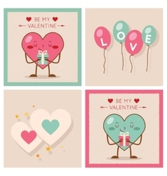 Valentines day Heart Gift Boy Girl Icons Modern vector image vector image