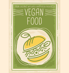 vegan food promotional banner design vector image vector image