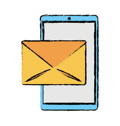 drawing smartphone email message mail vector image