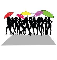 girl sexy with umbrella vector image vector image