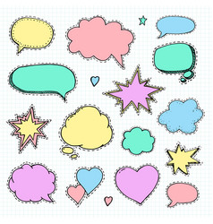 hand drawn set of speech bubbles vector image vector image