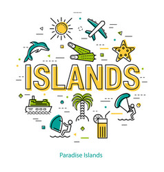 paradise islands - round linear concept vector image