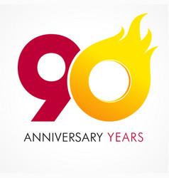 90 anniversary flame logo vector