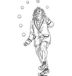 a sketch of a clown juggling balls vector image