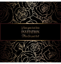 Abstract background with roses luxury black and vector image