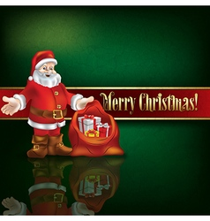 Abstract green grunge background with santa claus vector