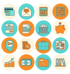 Accounting icons set flat line vector
