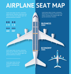 Airplane seat map class card vector